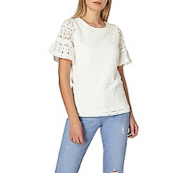 Dorothy Perkins - Ivory lace top with flutter sleeves