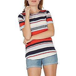 Dorothy Perkins - Red striped curve hem t-shirt