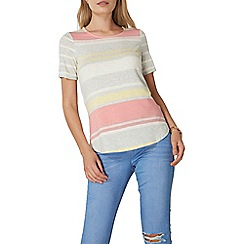 Dorothy Perkins - Lemon and coral striped t-shirt