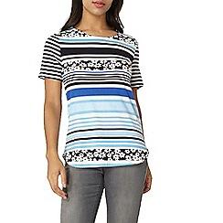 Dorothy Perkins - Blue floral print curve hem t-shirt
