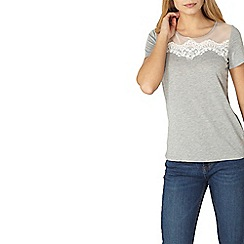 Dorothy Perkins - Grey lace yoke t-shirt