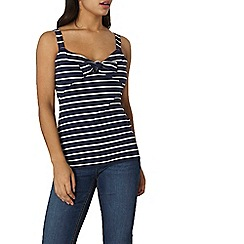 Dorothy Perkins - Navy and ivory tie front strap top