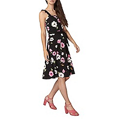 Dorothy Perkins - Tall black floral print ruffle sun dress