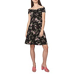 Dorothy Perkins - Black floral print bardot dress
