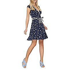 Dorothy Perkins - Navy ditsy printed wrap dress