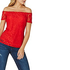 Dorothy Perkins - Red lace bardot top