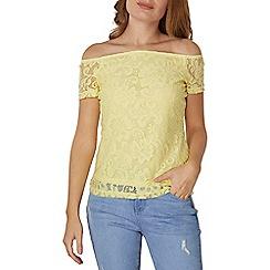 Dorothy Perkins - Yellow floral lace bardot top