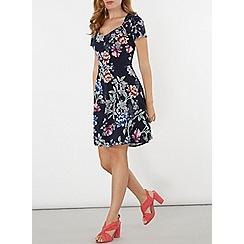 Dorothy Perkins - Navy floral short sleeves dress