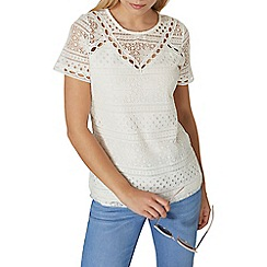 Dorothy Perkins - Ivory mixed lace t-shirt