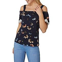 Dorothy Perkins - Navy floral cold shoulder top