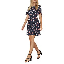 Dorothy Perkins - Navy floral fit and flare dress