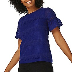 Dorothy Perkins - Cobalt flute sleeves lace t-shirt