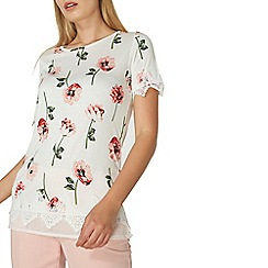 Dorothy Perkins - Ivory printed chiffon hem t-shirt