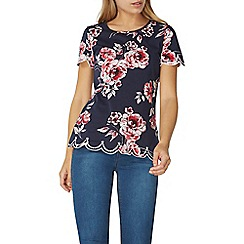 Dorothy Perkins - Navy printed embroidered hem t-shirt