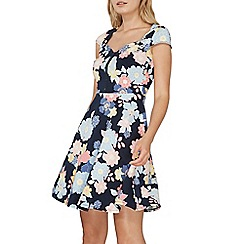 Dorothy Perkins - Navy floral button front dress