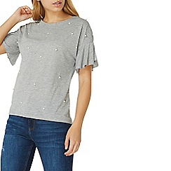 Dorothy Perkins - Grey pearl embellished top