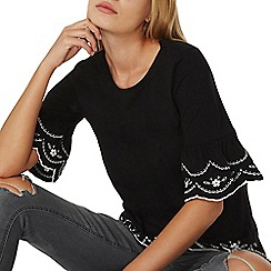 Dorothy Perkins - Black embroidered flute sleeves top