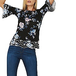 Dorothy Perkins - Black floral embroidered flute sleeves top