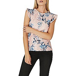 Dorothy Perkins - Nude floral lace ruffle sleeves top