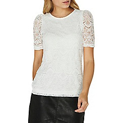 Dorothy Perkins - Ivory puff sleeves lace top