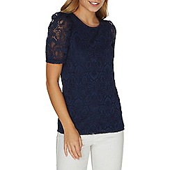 Dorothy Perkins - Navy lace puff sleeves t-shirt