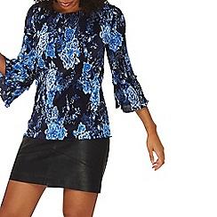 Dorothy Perkins - Cobalt floral print plisse top