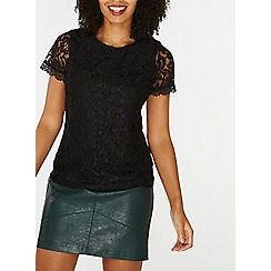 Dorothy Perkins - Black cornelli lace t-shirt