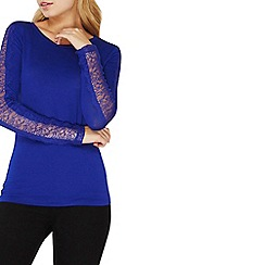 Dorothy Perkins - Blue long sleeves lace insert top