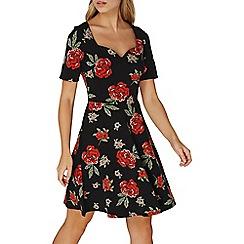 Dorothy Perkins - Black floral skater dress