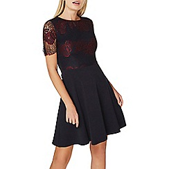 Dorothy Perkins - Navy and berry 2 tone lace dress