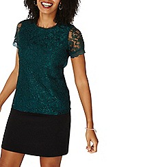 Dorothy Perkins - Green cornelli lace t-shirt