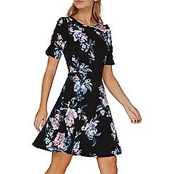 Dorothy Perkins - Black floral ruched sleeves skater dress