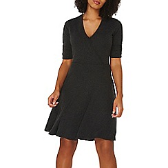 Dorothy Perkins - Charcoal soft wrap front skater dress