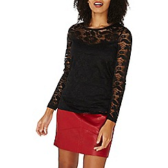 Dorothy Perkins - Black lace velvet trim t-shirt