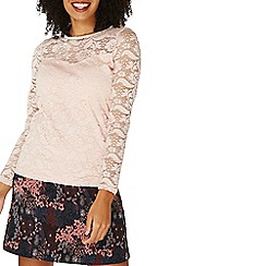 Dorothy Perkins - Nude lace velvet trim top