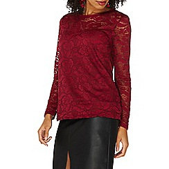 Dorothy Perkins - Berry lace velvet trim t-shirt