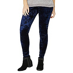Dorothy Perkins - Navy crushed velvet leggings