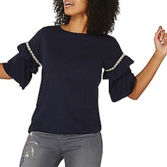 Dorothy Perkins - Navy embellished frill sleeves sweat top