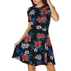 Dorothy Perkins - Black floral print ruched sleeves skater dress