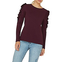 Dorothy Perkins - Berry red gathered frill sleeves top