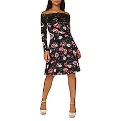 Dorothy Perkins - Black floral print bardot dress