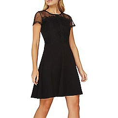 Dorothy Perkins - Black lace and mesh skater dress