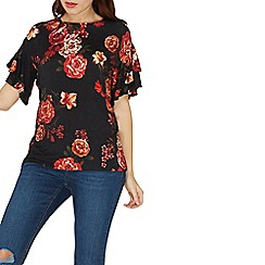 Dorothy Perkins - Black floral print double frill sleeves top