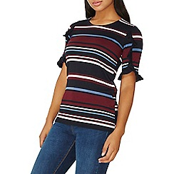 Dorothy Perkins - Multi coloured ruffle sleeves stripe t-shirt