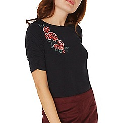 Dorothy Perkins - Navy blue floral embroidered ruched sleeves t-shirt