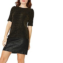 Dorothy Perkins - Black sparkle ruched sleeve top
