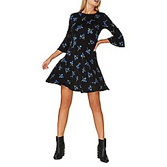 Dorothy Perkins - Black floral print fit and flare dress