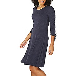 Dorothy Perkins - Navy ruche sleeves fit and flare dress