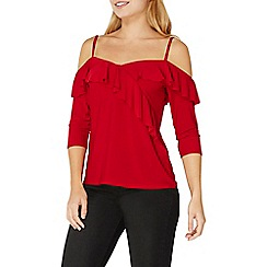 Dorothy Perkins - Red ruffle cold shoulder top