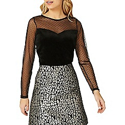 Dorothy Perkins - Black velvet polka dot mesh top
